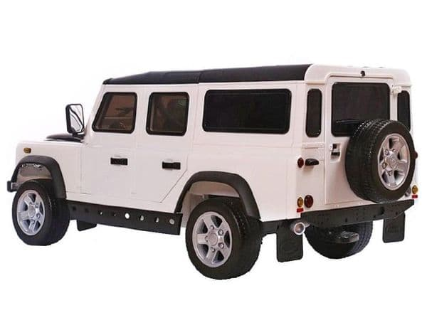 TOYANDMODELSTORE:  Land Rover defender ride on car for kids 12v electric cars motorised ride-in toy white